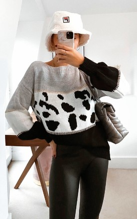 Lilia Knitted Leopard Print Jumper in Grey by IKRUSH
