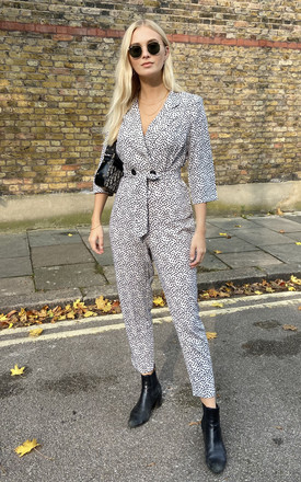 Animal Print Blazer Jumpsuit with Long Sleeves by FreeSpirits