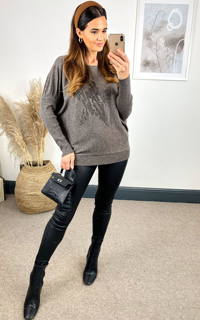 Dark Grey Star Jumper with Loose Fit by DIVINE GRACE