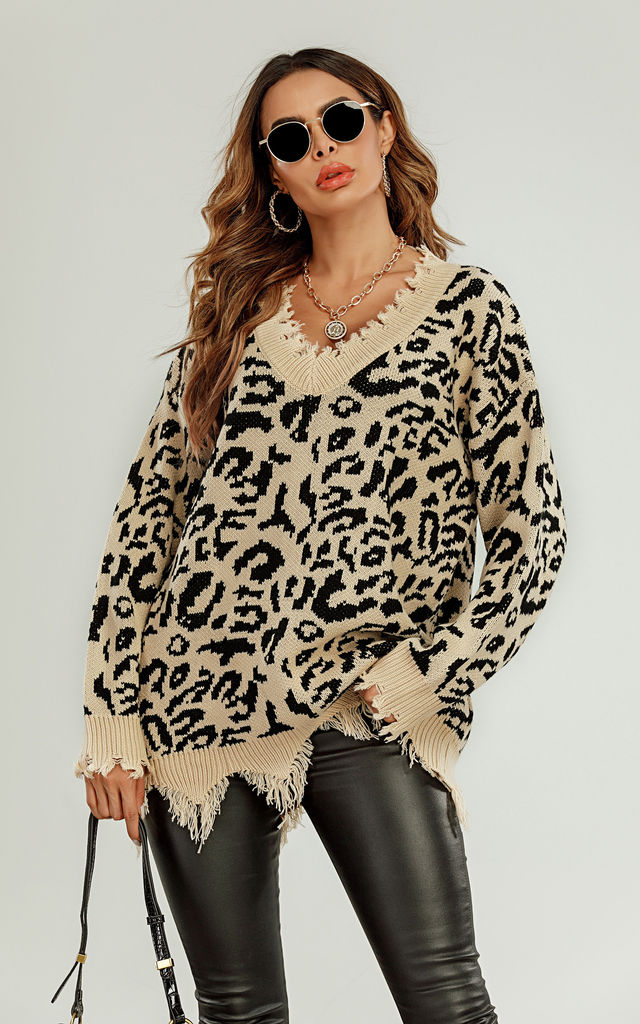 Oversize Knit Jumper In Beige And Black Leopard Print by FS Collection