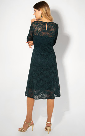 3/4 Sleeve All-Over Green Lace Dress by KRISP