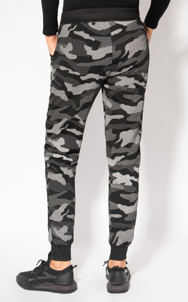 Camouflage Print Black Cuffed Joggers by KRISP