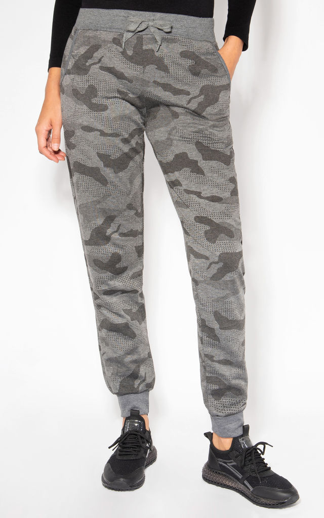 Camouflage Print Charcoal Cuffed Joggers by KRISP