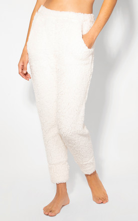 Two Pocket White Teddy Joggers by KRISP