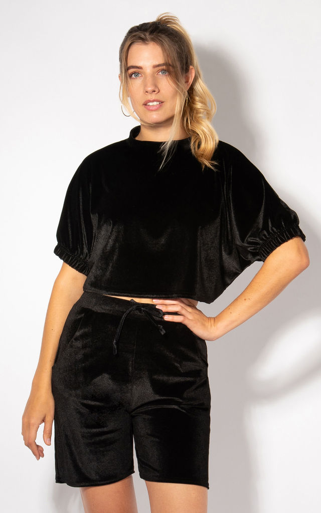 Black Velvet Short Sleeve Crop Top by KRISP