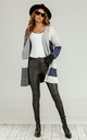 Colour Block Midi Cardigan In Navy & Grey & White by FS Collection