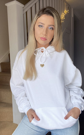 Oversized Hoodie in White with Leopard Print Heart by LimeBlonde
