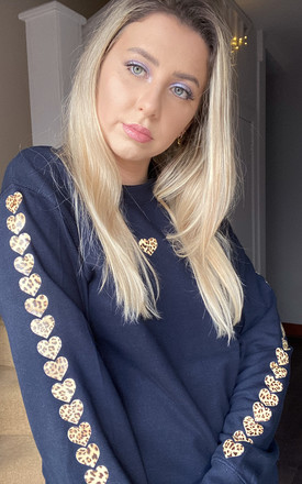 Jumper in Navy with Leopard Print Sleeves Heart Sleeves by LimeBlonde