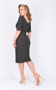 V-back dress with slit elbow length sleeve and belt in steel by Zoe Vine