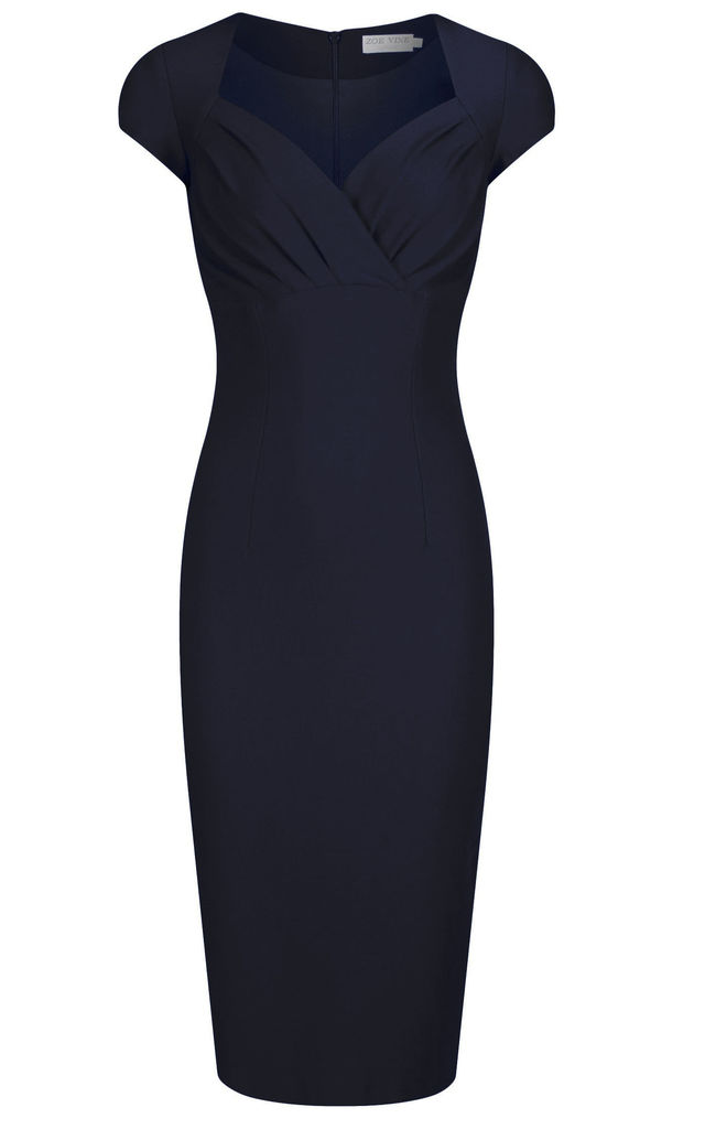 Black Pencil Dress with Pleated Bust by Zoe Vine