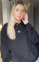 Oversized Hoodie in Black with Leopard Print Heart by Lime Blonde