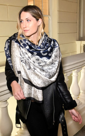 Silk Scarf in Black, Navy Blue and Ivory Paisley Design by Trillion London
