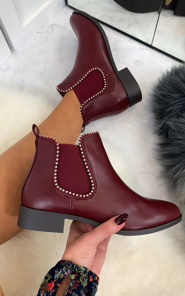 Alena Chelsea Ankle Boots in Wine by Larena Fashion