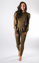 Puff Sleeve Rib Loungewear Set In Olive Green by Pinstripe