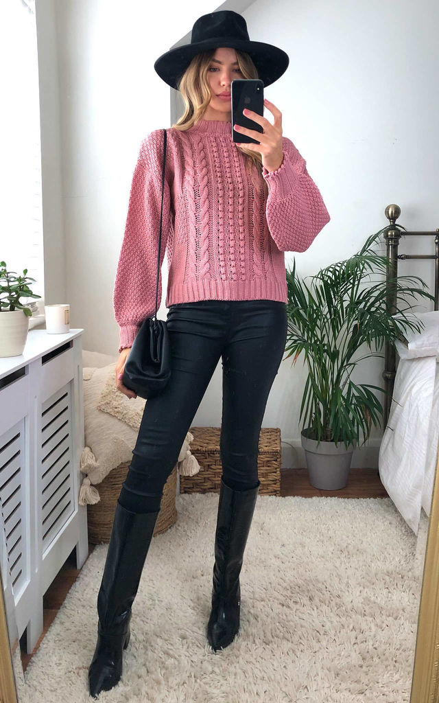 Pink Dolly  Bobble And Cable Stitch Jumper by Urban Bliss
