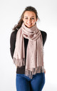 Pearl Detailed Fashion Scarf In Pink by Pinstripe