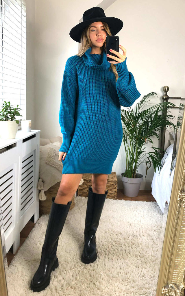 Flora Teal Roll Neck Jumper Dress by Faux