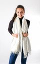 Pearl Detailed Fashion Scarf In White by Pinstripe
