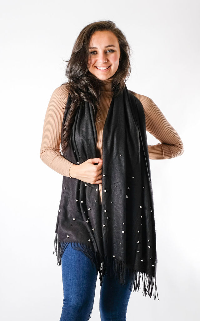 Pearl Detailed Fashion Scarf In Black by Pinstripe