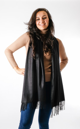 Plain Soft Touch Fashion Scarf In Black by Pinstripe