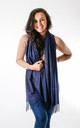 Plain Soft Touch Fashion Scarf In Navy by Pinstripe