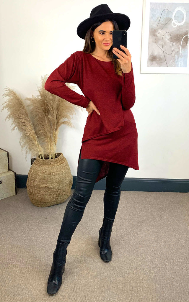 Lounge Layer Knit Tunic  Burgundy by Feverfish