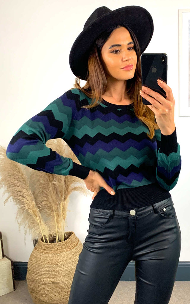 Machi Green & Blue Zig Zag Knitted Top by Collectif Clothing