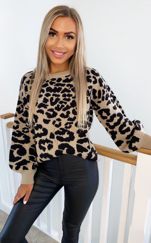 Long sleeve  Leopard Knitted Jumper in Stone by AX Paris