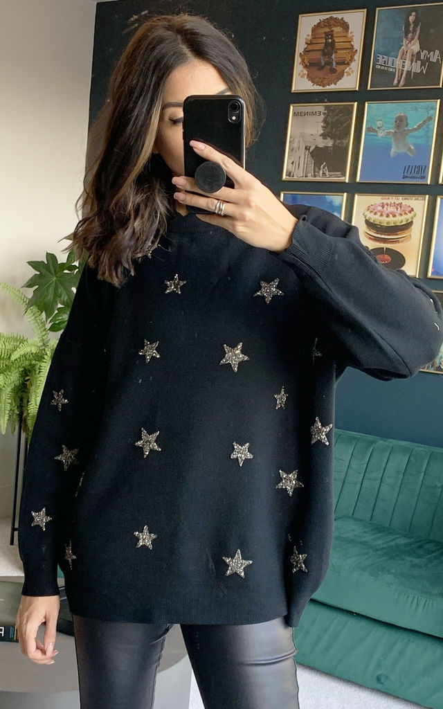 Metallic Star Relaxed Soft Knit Jumper in Black & Silver by One Nation Clothing