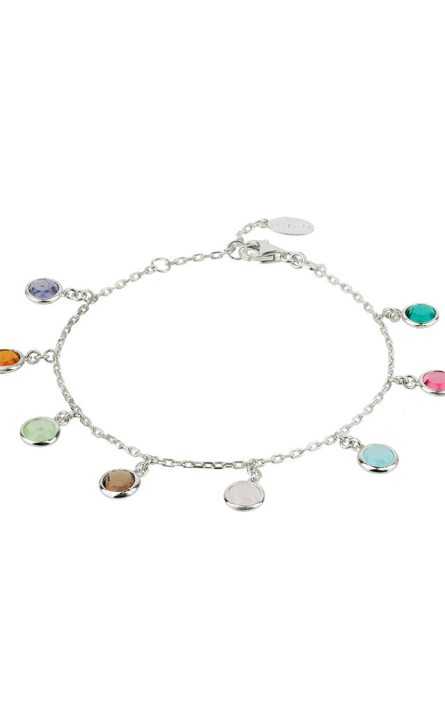 Florence Multi Coloured Gemstone Bracelet Silver by Latelita