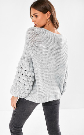 Bubble Sleeve knit jumper in grey by Marc Angelo