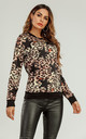 Long Sleeve Top In Black Animal & Star Print by FS Collection