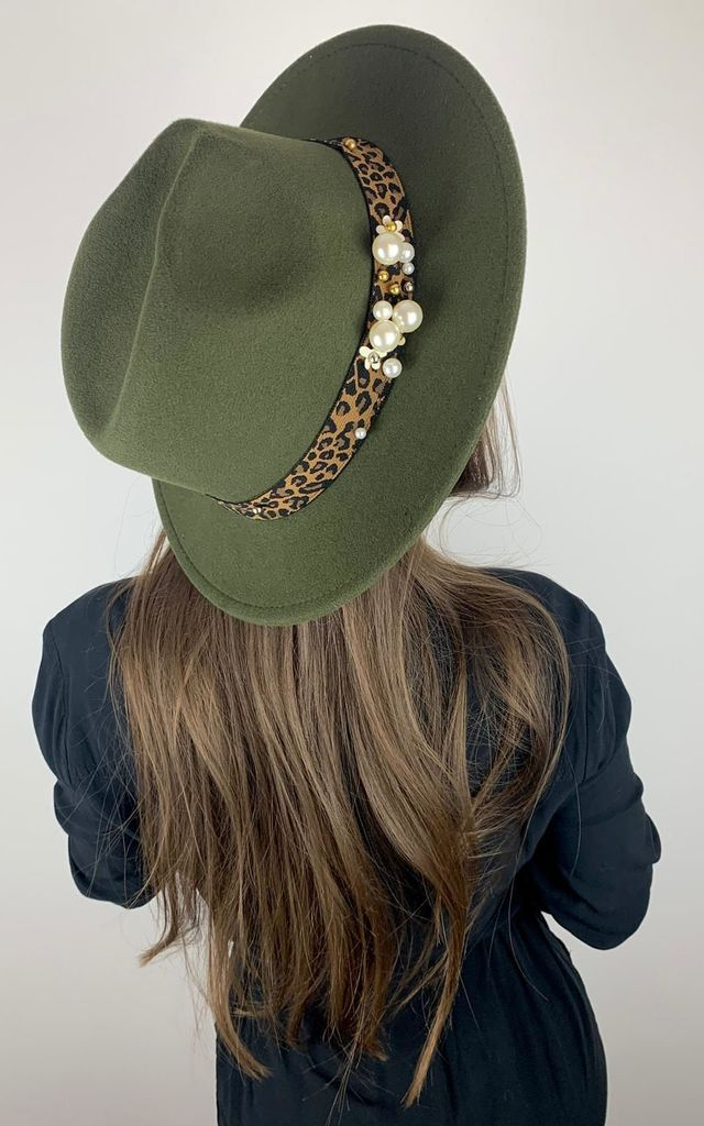 Juliette Jungle Green Fedora hat with Leopard Print & Pearl Trim by Kate Coleman