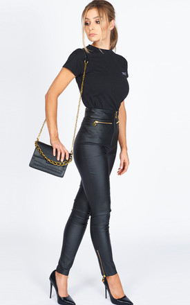 The Goldie High Waist Skinny Luxe Trousers in black by Worth A Million