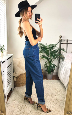 Mid Blue Wash High Waisted Mom Jeans by J-MOJO (JM)