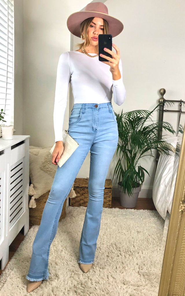 Light Blue Wash Flare Jeans by J-Mojo Denim