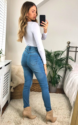 Vintage Blue Wash Distressed High Waisted Cuff Jeans by J-MOJO (JM)