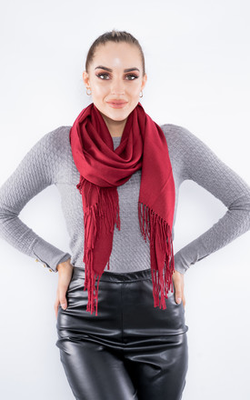 Luxury Cashmere Scarf W/ Tassels (Red) by Lucy Sparks