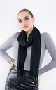 Luxury Cashmere Scarf W/ Tassels (Black)) by Lucy Sparks