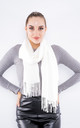 Luxury Cashmere Scarf W/ Tassels (White) by Lucy Sparks