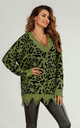 Oversize Knit Jumper In Olive Green And Black Leopard Print by FS Collection