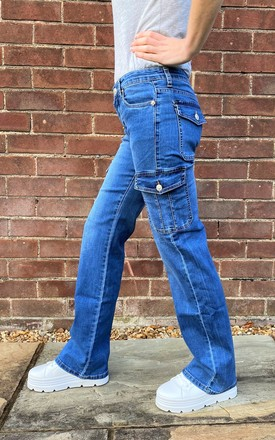 Mid Blue Wide Leg Cargo Jeans by Glamour Outfitters