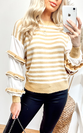 Yellow & White Stripe Jumper with Ruffles by CY Boutique