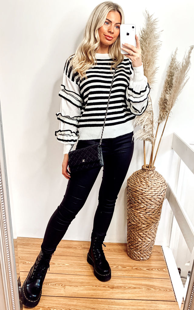 Black & White Stripe Jumper with Ruffles by CY Boutique