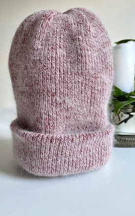 Cashmere pastel red wool beanie hat by Kate Coleman