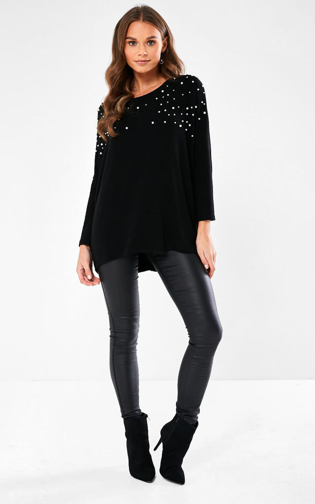 Pearl Embelished Knit Top in Black by Marc Angelo