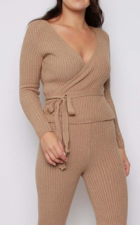 Soft Knitted Jumper and Trouser Lounge Set in Camel by Aftershock London