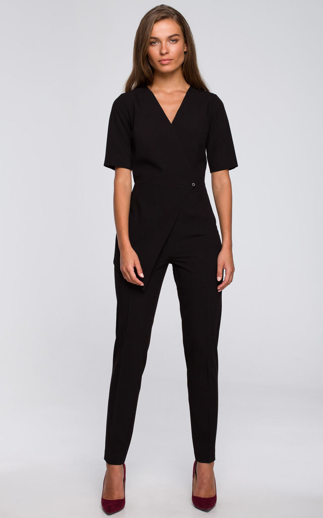 Jumpsuit with a Double Front in Black by MOE