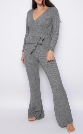 Soft Knitted Jumper and Trouser Lounge Set in Grey by Aftershock London