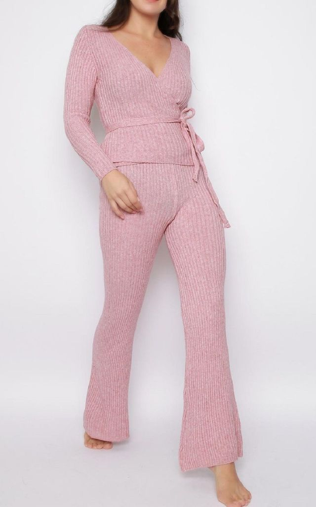 Soft Knitted Jumper and Trouser Lounge Set in Pink by Aftershock London